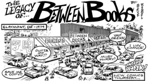 Cartoon created for Between Books' 30th anniversary. (Artwork by Steve Ressel)
